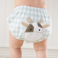 Check print diaper cover with cow applique