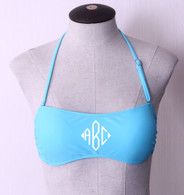 Light Blue Personalized Monogram Bandeau Swimsuit Top