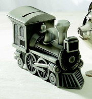 Choo Choo Train Money Bank Piggy Bank Gift - Antique Pewter Finish