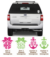 Vinyl Monogram Car Decal - Personalized Monogram Decal