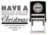 Holly Jolly Christmas Self-Inking Personalized Address Stamp - CS3522
