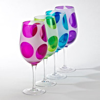 Set of 8 Globo Glass Goblets with Fun Colorful Polka Dots