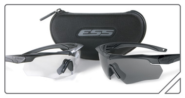 Kit contains two eye shields; one with a clear lens, and one with a gray lens. Also includes a hard case that will hold one pair of glasses.
