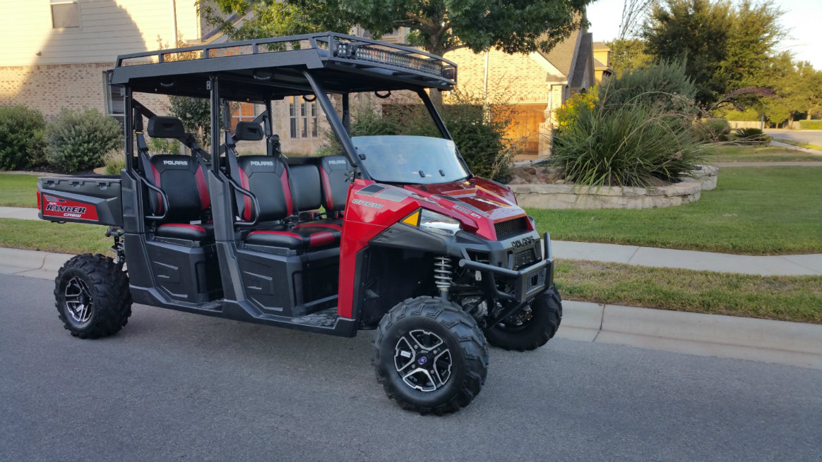 Awesome Polaris Ranger 900 Crew Metal Roof With LED Lights Front And Rear Lifted ...