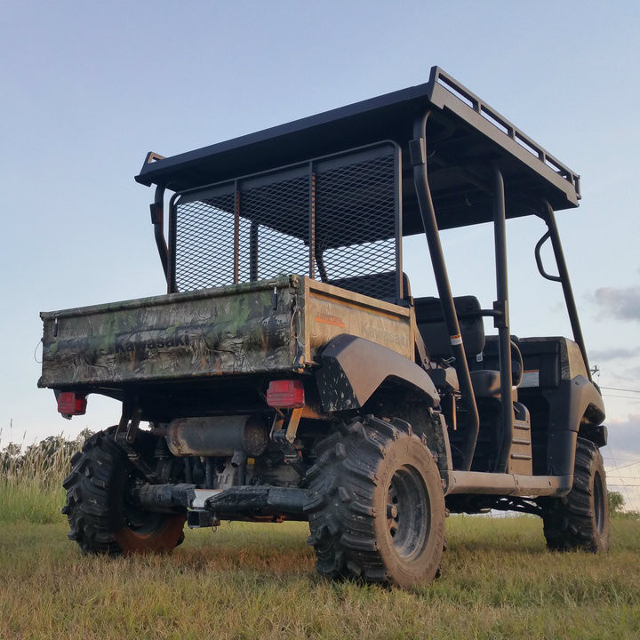 Rear view of Metal One-Piece top on Kawasaki Mule Trans