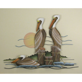 Pelican Trio Wall Sculpture