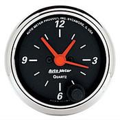 Autometer 2-1/16 In. Clock, 12 Volt, Elec, Db Chme Bzl