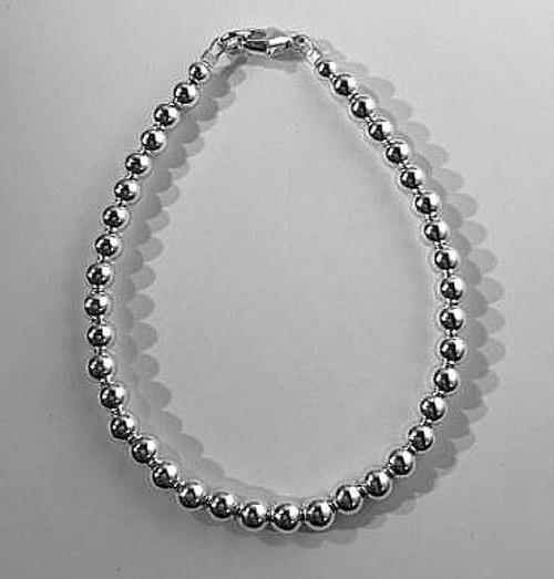 5mm Sterling Silver Beaded Bracelet