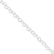 Sterling Silver Fancy Heart Link Anklet