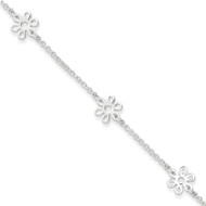 Sterling Silver Polished Flower Anklet