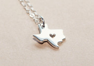 I Heart Texas Necklace Sterling Silver