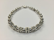 Sterling Silver Name Bracelet with Silver Beads