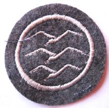 """WW2 German Luftwaffe DLV-Deutsche Luftsport Verband (German Air Sports Association) Glider Pilot Proficiency Badge """"C"""" Class. Machine embroidered single gull in white cotton thread on Luftwaffe blue/gray wool."""