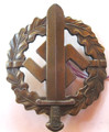 WW2 German SA Military Sports Badge in Bronze, Type 3 (921L0402-07)