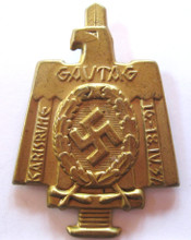 NSDAP Treffen 'Karlsruhe 1937' Event Badge 'Tinnie' With Pin Back