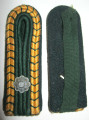 WW2 German Prison Administration 'Strafvollzug' NCO shoulder boards for the rank of Strafvollzugsdienst Hilfsaufseher, circa 1942-45. Slip-on style, shows light wear and age. Pair.