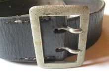 WW2 German Officers Black Leather Double Claw Belt and Buckle
