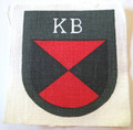 WW2 German Army Russian Kuban Cossack Volunteer Shield. Issued to Russian Auxiliary Cossack formations raised in 1943 fro, among POW's in German custody. During the second world war there were over 2 million foreign volunteers serving in the Wehrmacht on all fronts. This example is printed on linen, and shows light age toning. The colors are still brisk and there is no soiling or staining.