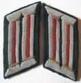 WW2 German Army Assault Gun Artillery Officers Collar Tabs, Pair. Bullion chapels with bright red braided wire waffenfarbe on dark blue green badge cloth, folded and mounted without buckram. Pair. VG.