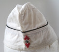 A standard 1934 pattern overseas cap made in white linen with black piping. Piped in black along the crown and hand sewn Hitler Youth diamond affixed to the front lower scallop. This is a special event item, perhaps made for use at the Olympics or a parade, thus unlined. Another possibility is for use as a mess service cap. Surprisingly well made, unmarked.