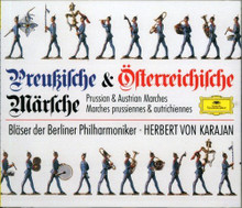 Preussische und Österreichische Märsche: Bläser der Berliner Philharmoniker. This DOUBLE-CD album features THIRTY ONE of the most famous Prussian- and Austrian marches, conducted by Herbert von Karajan.