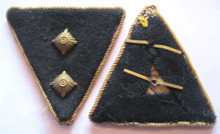WW2 Prison Administration 'Strafvollzug' FEMALE NCO Collar Tabs for the rank of Strafvollzugsdienst Hilfsaufseherin, circa 1941-45. Shows light wear and age. Cellophan twisted piping on black wool with buckram and glass pips. Pair.