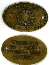 East German Kripo Warrant Disc for the State of Brandenburg