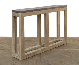 wood and stone console