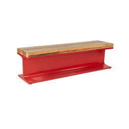 industrial steel wood bench