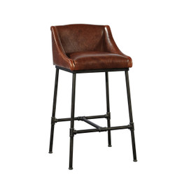 leather iron pipe bar stool