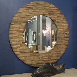 round reclaimed wood wall mirror