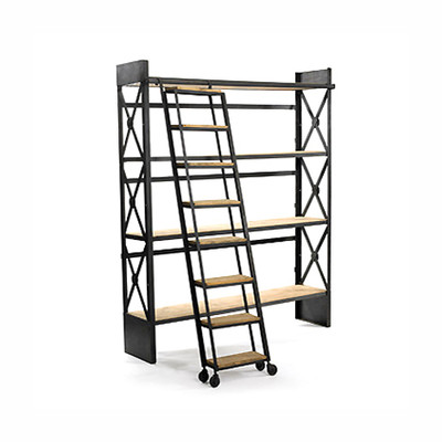 Vintage Industrial Metal Reclaimed Wood Ladder Library Bookshelf