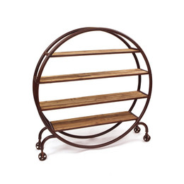 Round Industrial Bookshelf