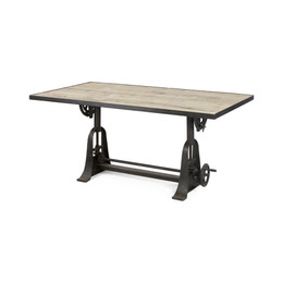 vintage industrial crank dining table
