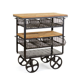 Reclaimed Wood Station Cart