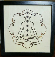 Meditation Chakras Wooden Black Frame with LED Lights