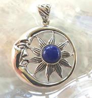 Lapis Lazuli Sun & Moon Sterling Silver Pendant
