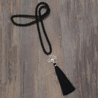 Black Agate Mala with Lotus Flower
