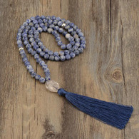 Blue Point Agate Mala with Quartz