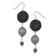 Black Cinnabar Bali Drop Earrings
