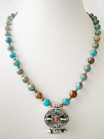 Dyed Imperial Jasper Necklace & Tibetan Silver Prayer Box Locket