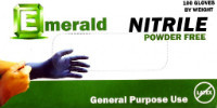 The Emerald general purpose powder-free 4 mil nitrile glove is a cost-effective solution for those seeking the protection and flexibility of nitrile. This latex-free textured glove guards against hand fatigue and provides a chemical barrier. It is the perfect nitrile glove for food service and other general purpose use.  Packaging: 100 gloves per dispenser box. 10 boxes per case.