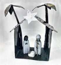 Fair Trade Springstone and Metal Holy Family Nativity from Zimbabwe