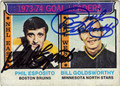 PHIL ESPOSITO & BILL GOLDSWORTHY DOUBLE AUTOGRAPHED VINTAGE HOCKEY CARD #100112H