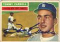 TOMMY CARROLL AUTOGRAPHED VINTAGE BASEBALL CARD #100212U