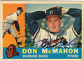 DON McMAHON MILWAUKEE BRAVES AUTOGRAPHED VINTAGE BASEBALL CARD #100213B