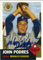 JOHN PODRES BROOKLYN DODGERS AUTOGRAPHED BASEBALL CARD #100213D