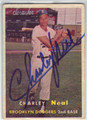 CHARLEY NEAL BROOKLYN DODGERS AUTOGRAPHED VINTAGE BASEBALL CARD #100513D