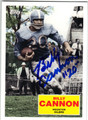 BILLY CANNON HOUSTON OILERS AUTOGRAPHED FOOTBALL CARD #100613D
