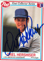 OREL HERSHISER LOS ANGELES DODGERS AUTOGRAPHED FOOTBALL CARD #100813B